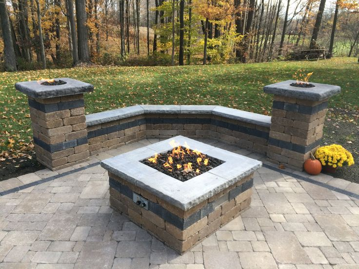 Paver Patio With Natural Gas Fire Pit, Two Gas Fire Columns, And Sitting  Wall