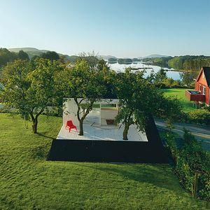 кусочек жизни Норвегии гостевой дом угловой фасад в разрезе ель патио облицовки ИКЕА стул