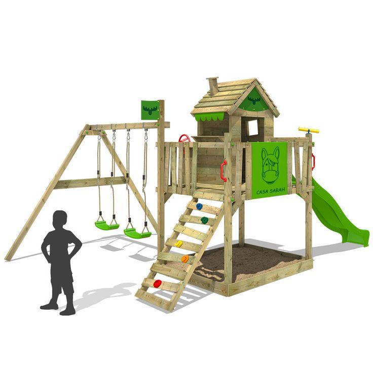 FATMOOSE RockyRanch Roll XXL Stelzenhaus Spielturm Baumhaus Doppelschaukel Holz   eBay