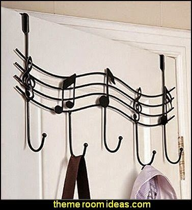 Music Note Style Metal Coat Hanger Wrought Iron Rack Robe Hooks