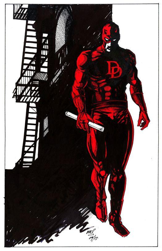 @MrSmithMachine  Daredevil - Pen and ink on Fabriano board