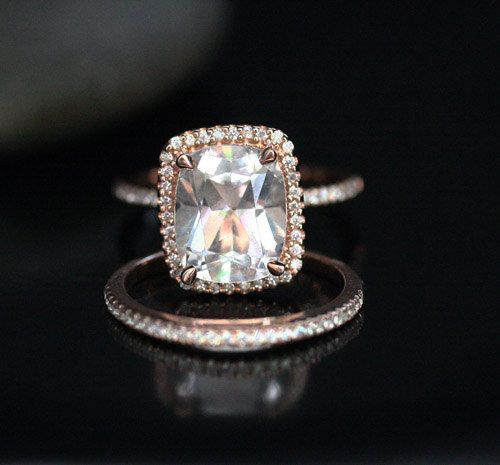 14k Rose Gold 11x9mm White Topaz Cushion Halo by Twoperidotbirds