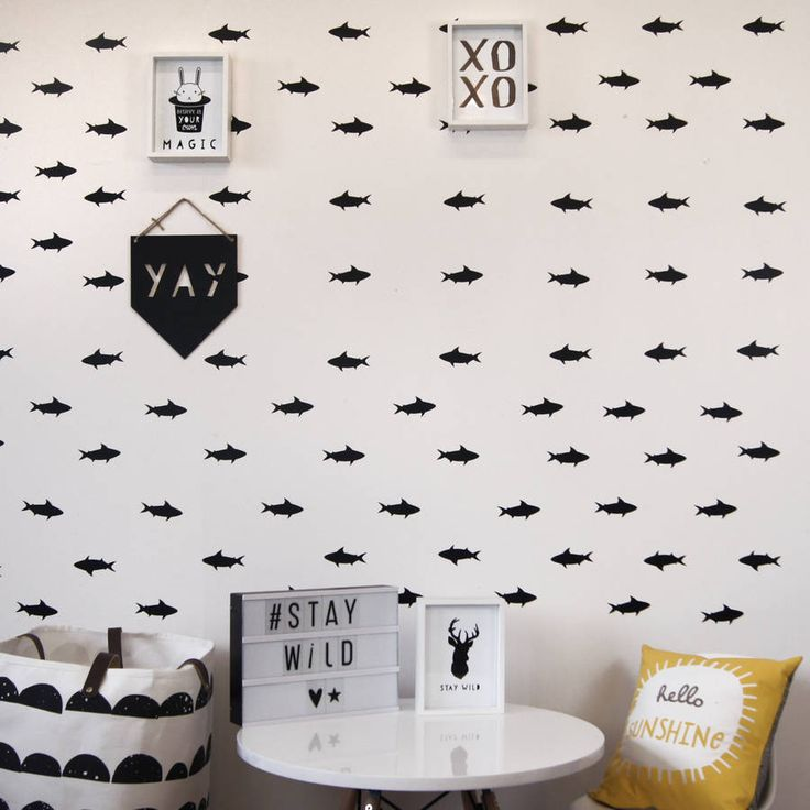 Monochrome Shark Wall Stickers. We love our fabulous unique shark wall stickers. At Parkins Interiors we have fully embraced the trending monochrome theme and created a range of wall stickers to transform any blank wall.