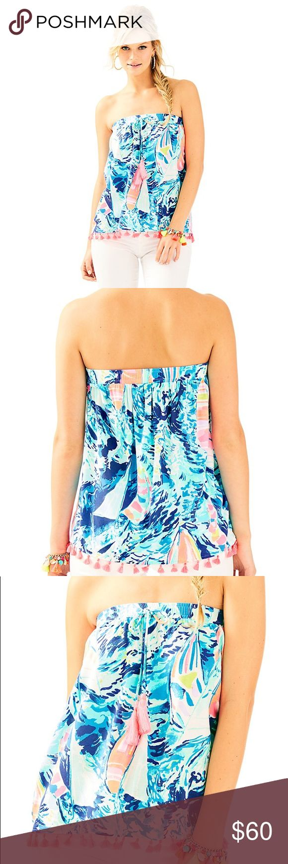 NWT Lilly Pulitzer Palma Tube Top Hey Bay Bay Blue Brand new in plastic. Print is sparkling blue hey bay bay with sailboats. Feel free to bundle and make an offer! Lilly Pulitzer Tops
