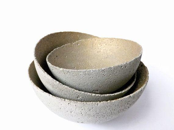 Concrete Bowl Set of 3 Home Decor Urban Industrial by BetonDeko