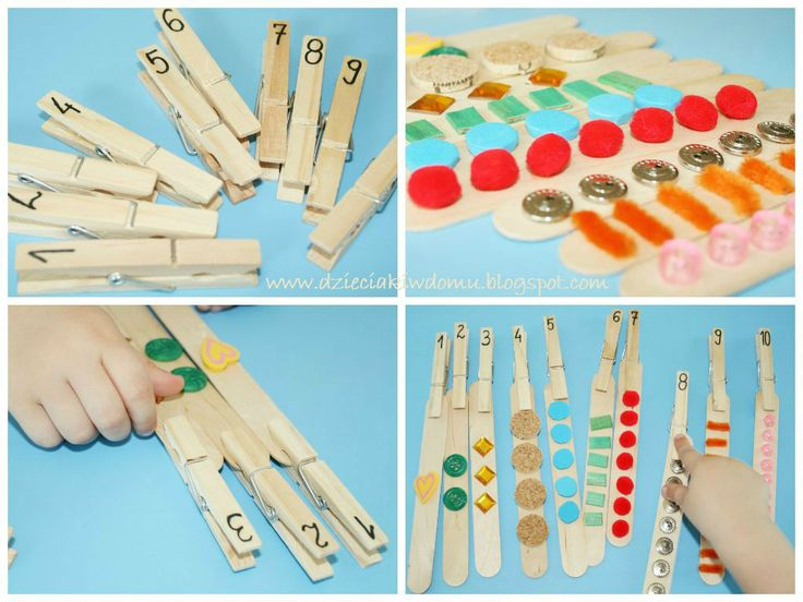 drewniane klamerki i szpatułki - liczymy do dziesięciu, łączymy z cyfrą