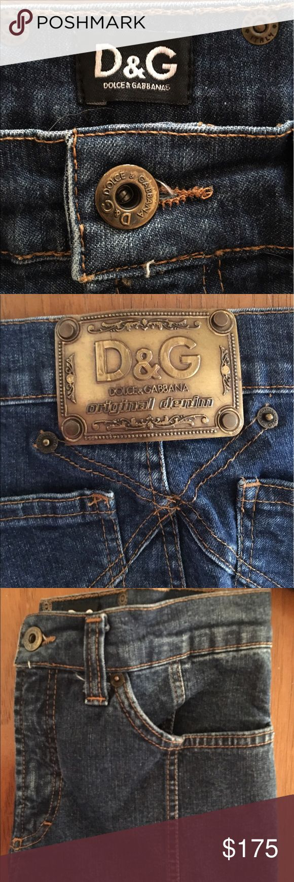 """Dolce & Gabana Straight Leg Jeans These K I L L E R Dolce & Gabana Straight Leg Jeans are so unique and are for sure a statement piece essential for any wardrobe! With a mid rise fit, cut them into shorts for a cool and funky summer look! The metal plated DG logo (back) is sure to stand out! Disclaimer( I'm 5'1"""" and these were a few inches too long for me, it fit all the right places though) Dolce & Gabbana Jeans Straight Leg"""