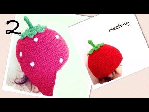 いちご帽子の編み方 1/2 『帽子部分』 - YouTube