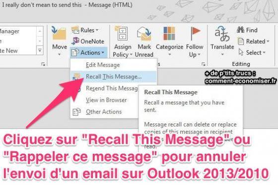 Au travail, on envoie des dizaines, voire des centaines d'emails par jour. Résultat : certains partent un peu trop vite. Et là, c'est le drame. Heureusement, comme sur Gmail, Microsoft Outlook 2013 et 2010 a une option pour annuler l'envoi d'un email.  Découvrez l'astuce ici : http://www.comment-economiser.fr/annuler-envoi-email-outlook.html?utm_content=buffer83551&utm_medium=social&utm_source=pinterest.com&utm_campaign=buffer