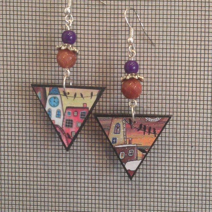 Decoupage Folk Art Triangle Earrings by GreyShackStudio on Etsy