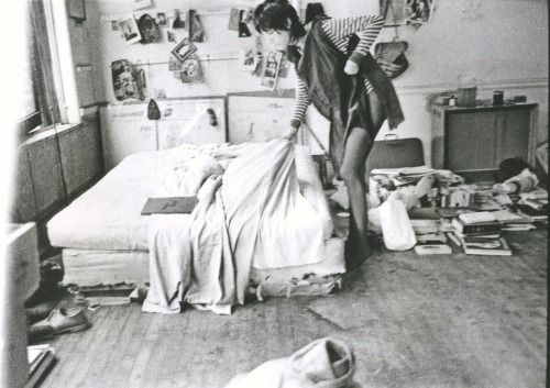 "Early everyday bohemian life of Patti Smith, photographed by Judy Linn.(3) More than 100 black and white photos of young Patti, sometimes surrounded by her lovers at the time Robert Mapplethorpe and Sam Shepard are published in ""Patti Smith 1969-1976, Photographs by Judy Linn""."