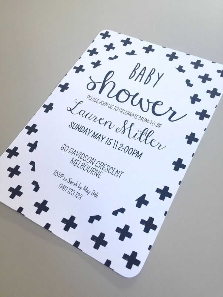 Monochrome Baby Shower Invitation Printable - Black & White Baby Shower Invites with Crosses,  Gender Neutral, Boy or Girl BC by VandaBabyCards on Etsy https://www.etsy.com/au/listing/270718869/monochrome-baby-shower-invitation