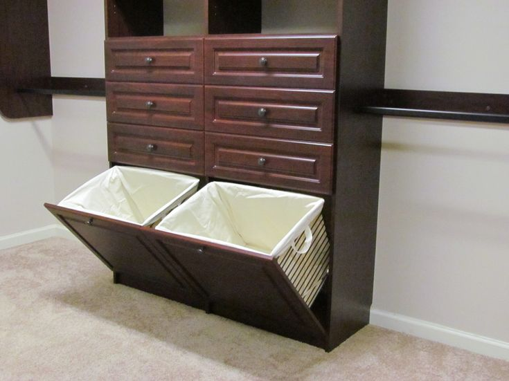 Inspired laundry hamper in Closet Traditional with Closet Baskets next to Built…