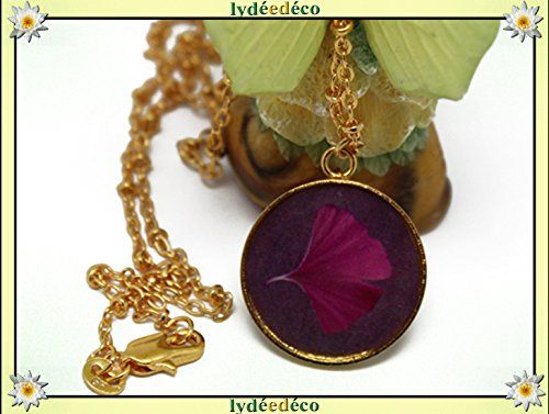 Collier Ginko Laiton Dore Or Fin 24 Carats 24k Rose Violet Resine