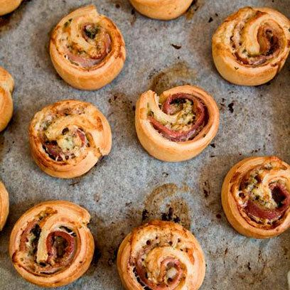 Crispy bacon canapes will go down a treat with guests alongside a glass of bubbly.