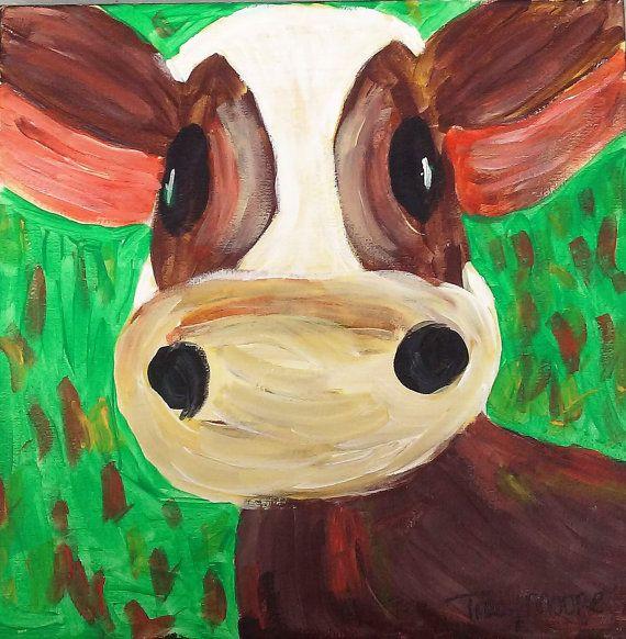 Cow Painting on Canvas, Animal artwork, Farm Animal Art, Kid art, Original…