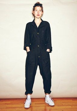 Vintage original sateen boiler suit.  During WWI, when women had to take jobs in factories, the boiler suit was often worn.