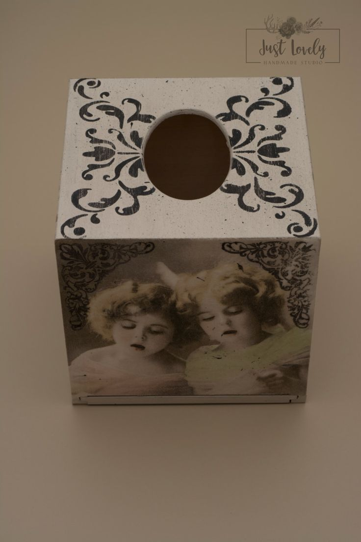 Tissue box cover,decoupage box,vintage girls,hearts,Just Lovely Handmade…