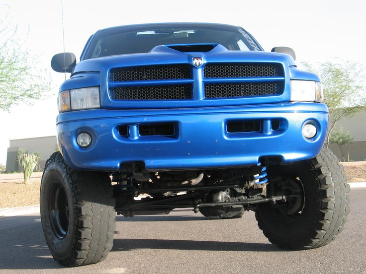 blue dodge ram lifted