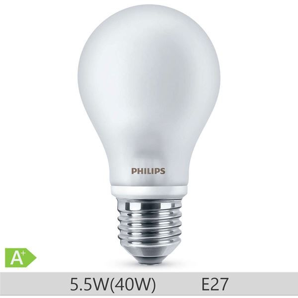 Bec LED Philips standard 40W E27 A60 lumina calda 230V ND http://www.etbm.ro/tag/148/becuri-led-e27