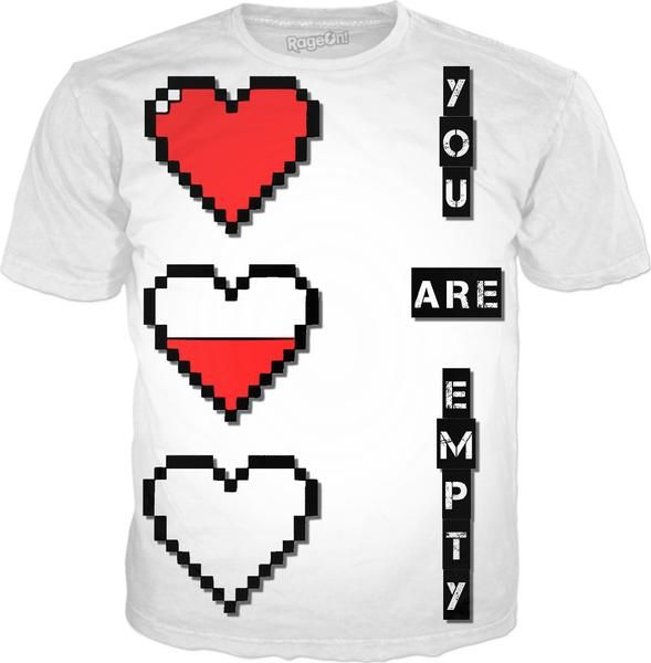 Pixel hearts, you are empty, white men's tee shirt design - item printed by RageOn.com, also available at casemiroarts.com