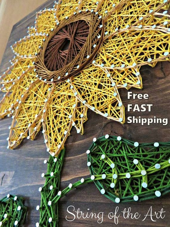 String Art DIY Kit - Sunflower String Art - Free Shipping - DIY Crafts - Art Project - Stained Wood, String, Pattern, Instructions, Nails