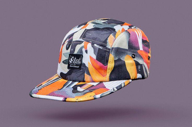 Retart – kšiltovka s rovným kšiltem – barevná pětipanelka s potiskem, 5 panel cap  #cap #5panel #illustration #slovak #slovakia #accessories #colorful