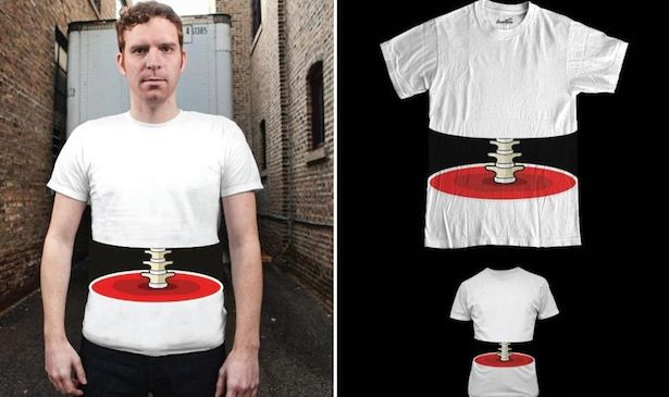 3D Spine T-shirt: Midriff Mishap combines illusion and affordable costume. This would be a great shirt for a last minute Halloween costume.