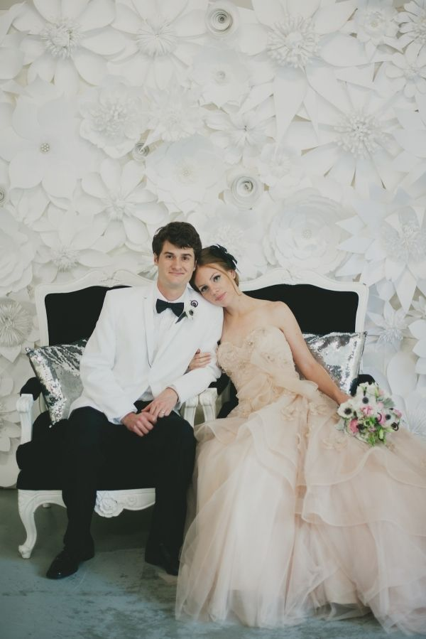 Black and White wedding // Habitually Haute Events and Sarah McKenzie Photography styled a shoot with bow tie accents for a modern look; paper flower wall by Balushka Paper Floral Artistry