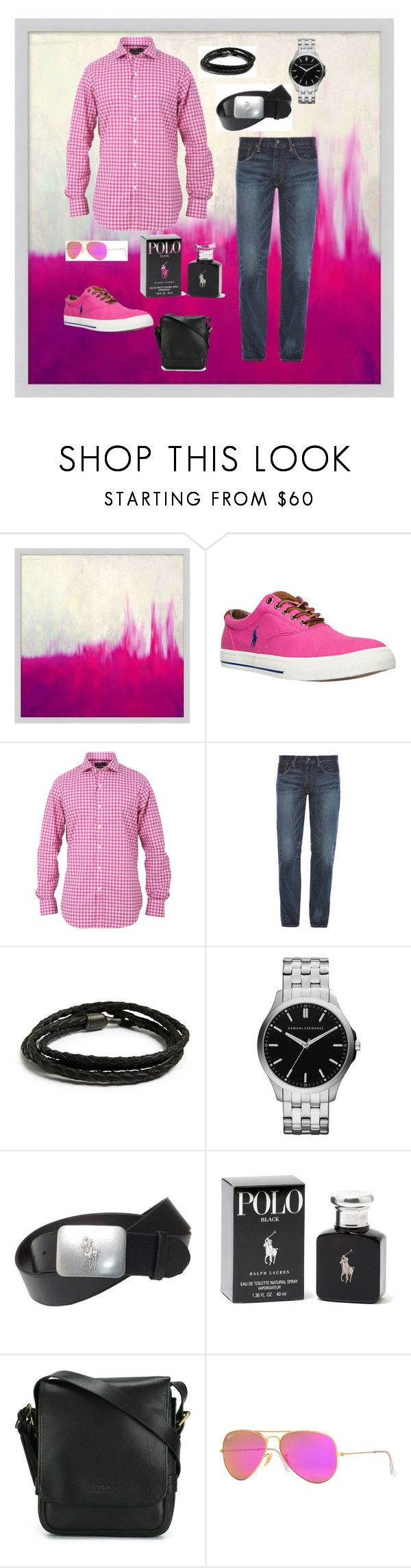 """""""Pink Polo!"""" by whatsyourswagg ❤ liked on Polyvore featuring Pottery Barn, Polo Ralph Lauren, Ralph Lauren, MIANSAI, Armani Exchange, Ray-Ban, men's fashion and menswear"""