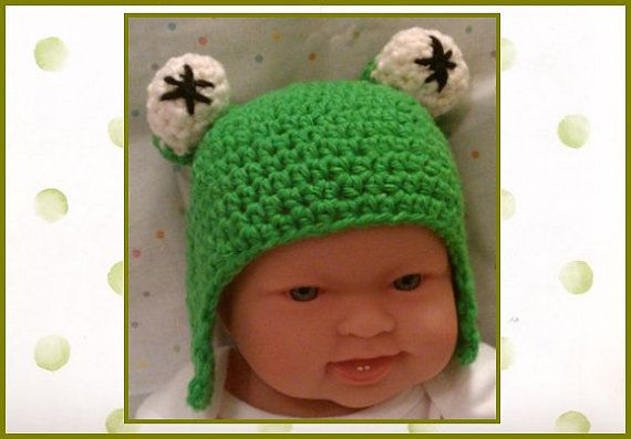 Crochet Whimsical Frog Newborn Boy or Girl Hat  by PostsNPurls, $20.00