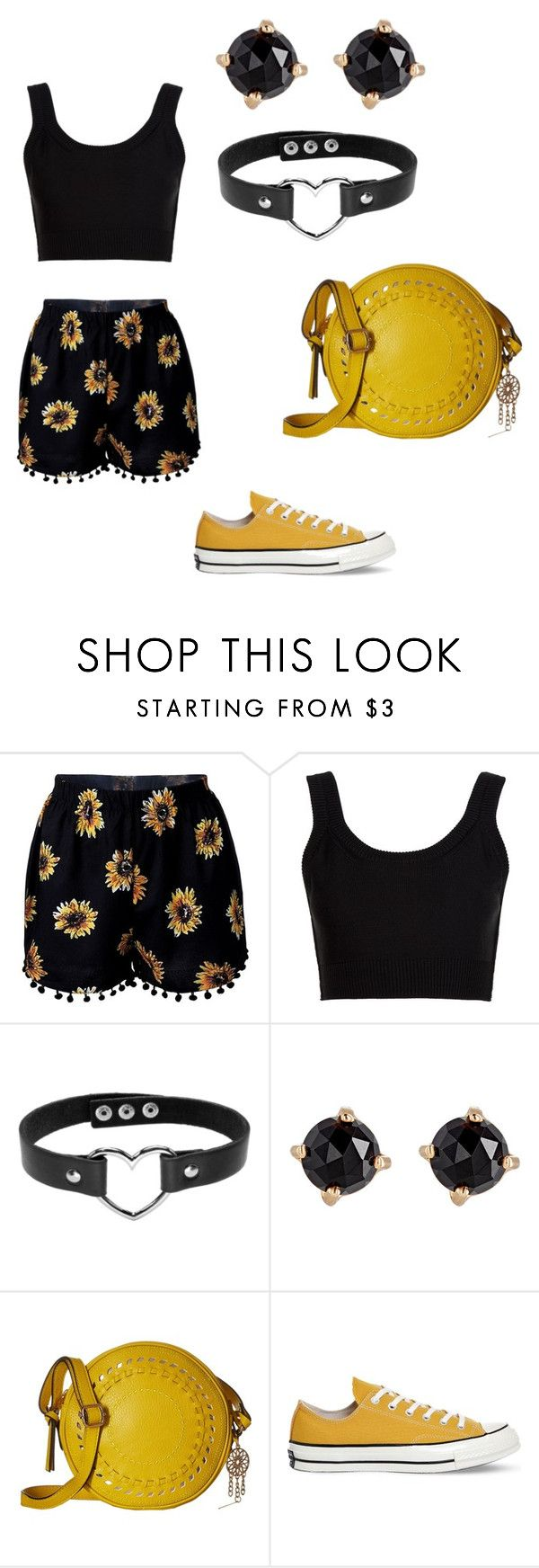 """Sunflower fields"" by andrea-blackman ❤ liked on Polyvore featuring Calvin Klein Collection, Irene Neuwirth, Jessica Simpson and Converse"