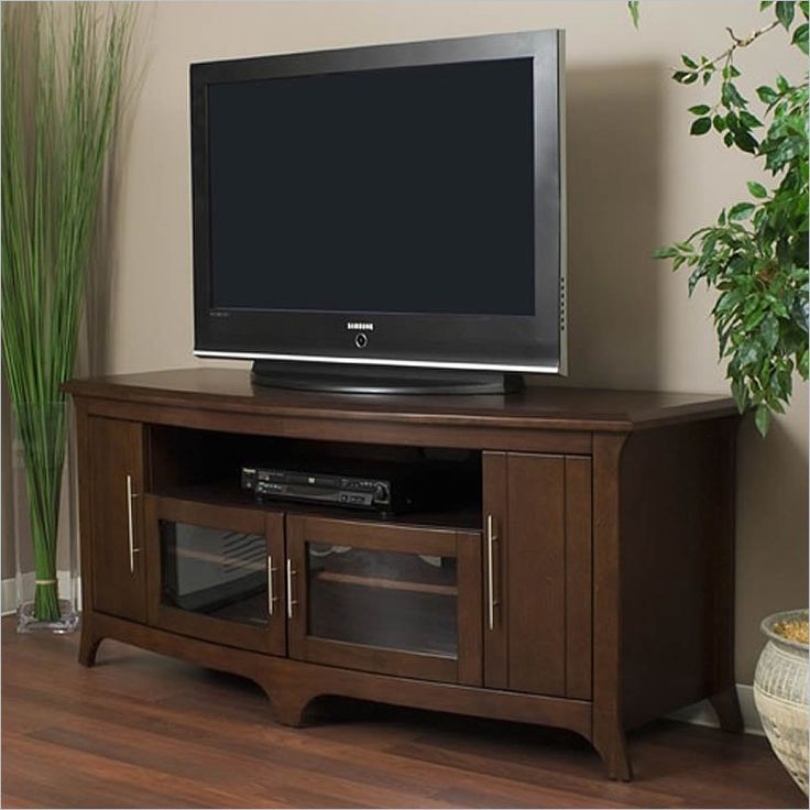 "Tech-Craft 64"" Walnut Curved Front Hi-Boy Audio/Video Credenza"