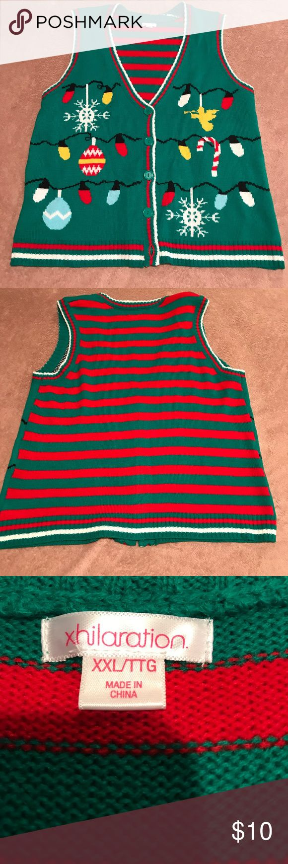 Ugly Christmas Sweater Vest Ugly Christmas sweater vest. Great for that ugly sweater contest!  Only worn once Xhilaration Sweaters