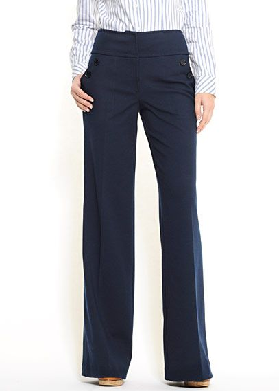 Who trousers from Mango.com.  Sailor-style high-waist pants in jersey fabric.  Beautiful and elegant but easy for work! £49.90 OOOH, WITH MY BLUE STRIPE SHIRT AND NUDE FLATS.