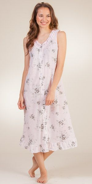 Button-Front Cotton-Rich Sleeveless Mid Nightgowns in Pink Shade