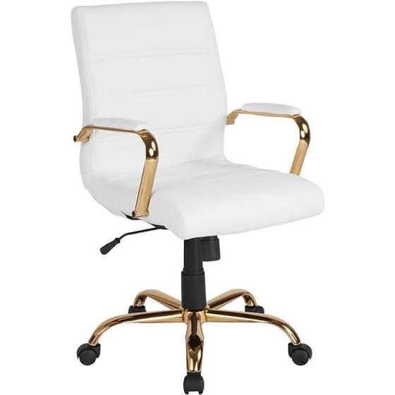 Modern White Desk Gold Legs Leather Office Chair White Office Chair Modern Office Chair