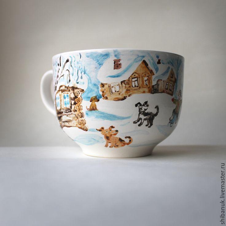 """Купить Керамическая суповая чашка """"Зимний день"""" - чашка с росписью, суповая чашка, зимний пейзаж"""