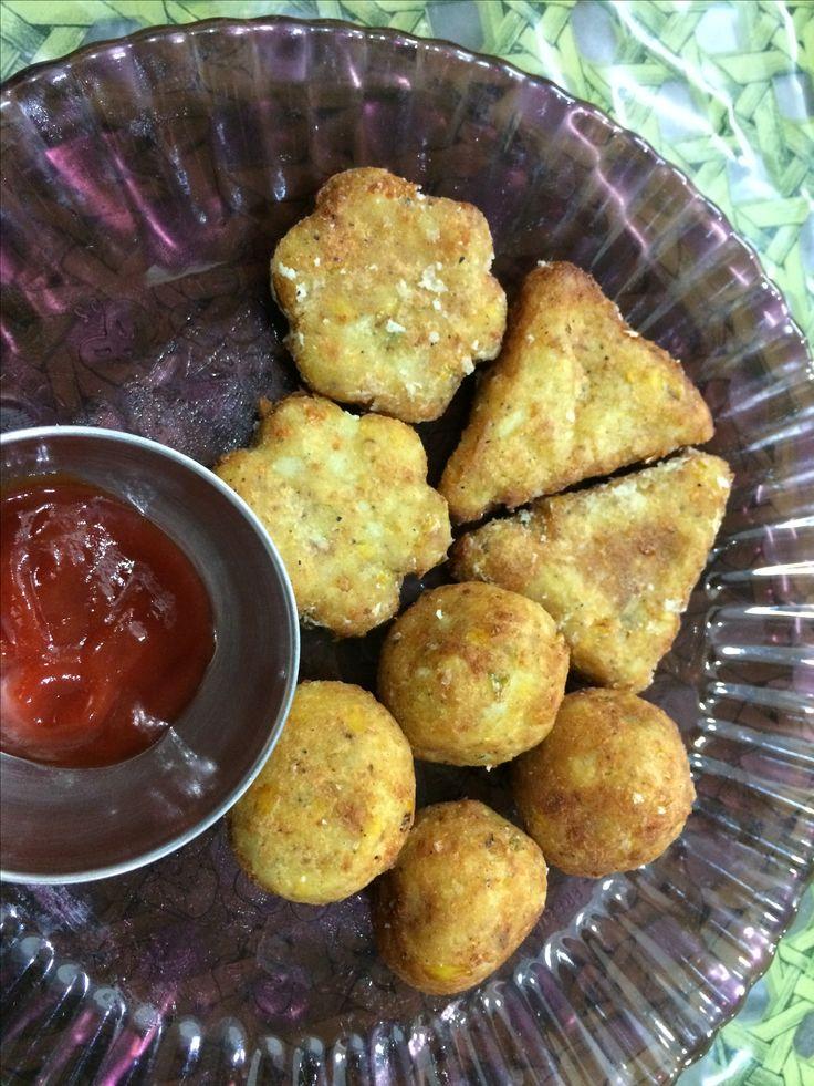Cheese Corn Cutlets cookvegfood.blogspot.com