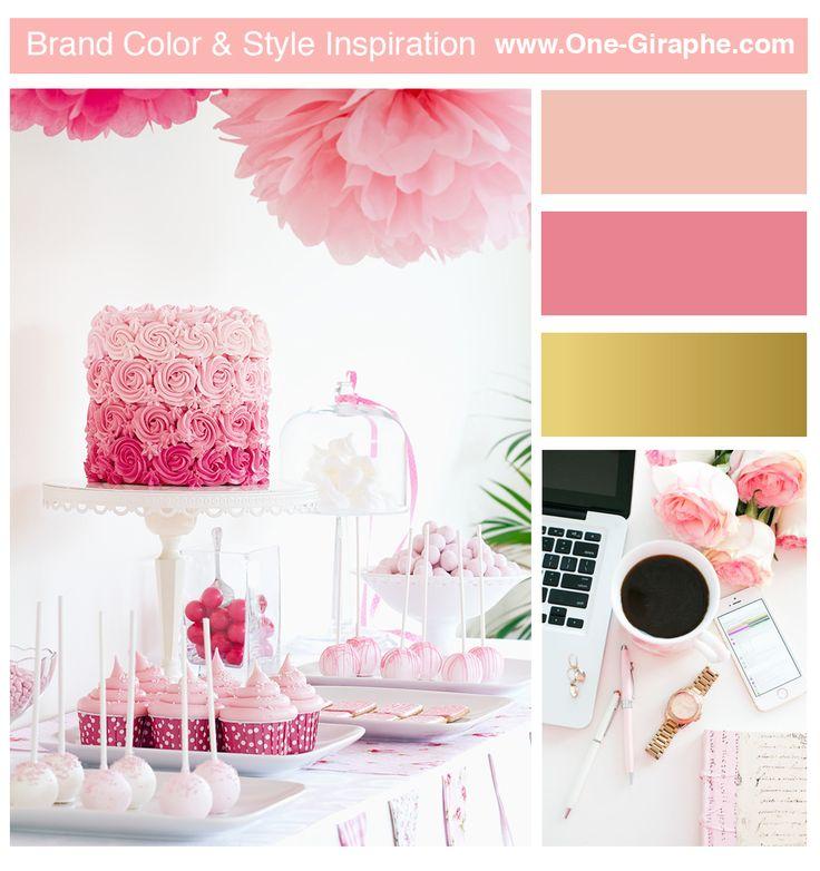www.One-Giraphe.com Bakery / Pink / Gold #moodboard #brandboard #logo #brandcolor #inspiration #bakery #pink #gold #cupcake #cake #event #wedding #logo #logodesign #logodesigner #sweet