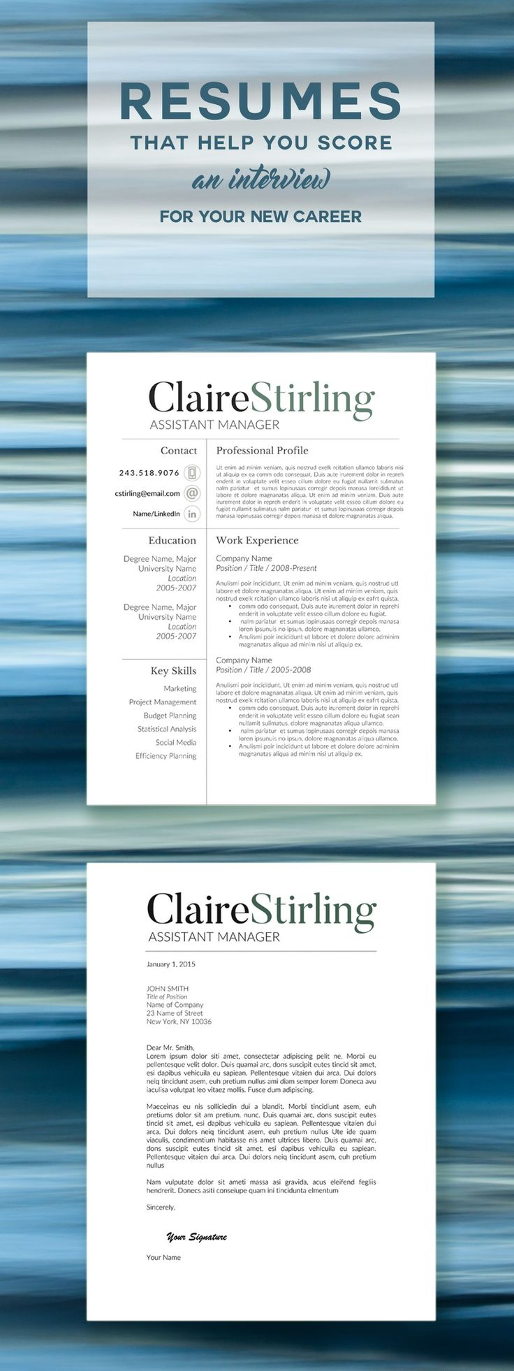 Modern resume template; for use with Microsoft Word.
