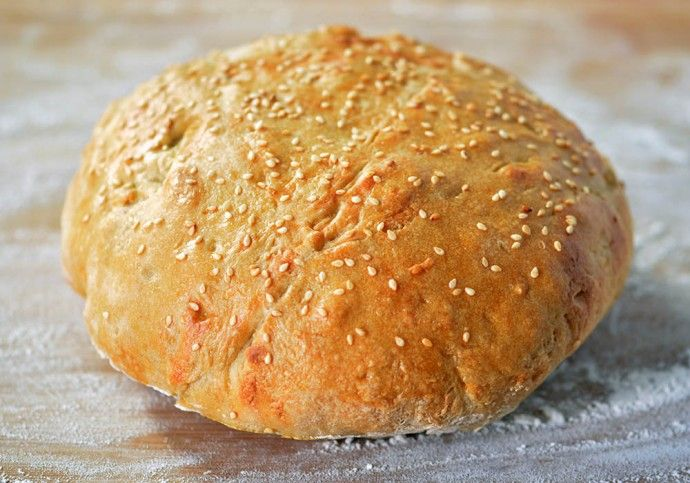 Muffaletta Bread with Sesame Seeds