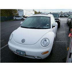 2000 Volkswagen New Beetle Category: Hatchback Make: Volkswagen Model: New Beetle Color: White Year: 2000 VIN#: 3VWCA21C8YM474783 License Plate: OR STARBG Title: Will Update Monday Night Mileage: 104000 Condition: Runs and Drives