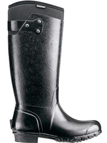 Womens Bogs Rider Emboss Black Insulated Waterproof Rain Boots