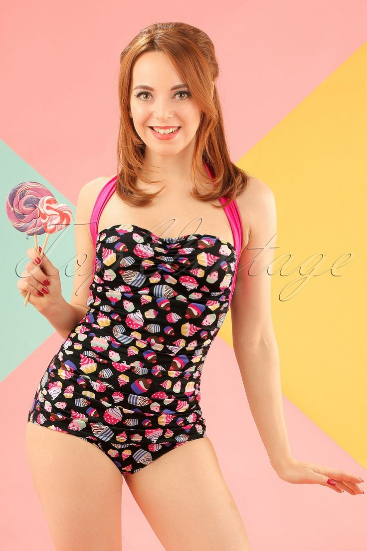 50s Cupcakes One Piece Swimsuit in Black