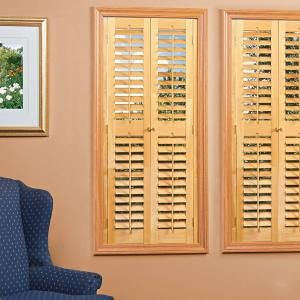homeBASICS Plantation Light Teak Real Wood Interior Shutter (Price Varies by Size)-QSPD2736 - The Home Depot