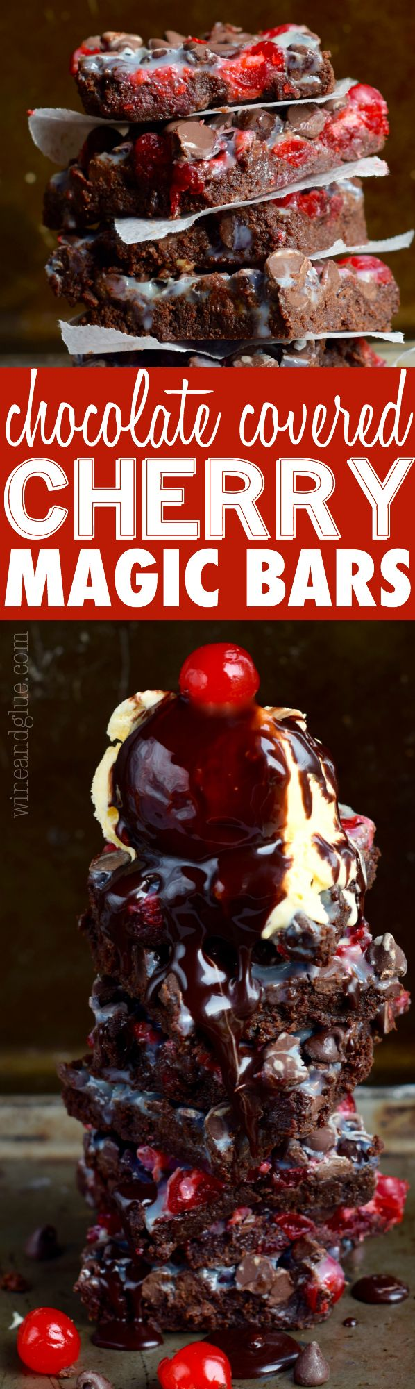 These Chocolate Covered Cherry Magic Bars and their brownie base are the delicious candy made into a decadent dessert!
