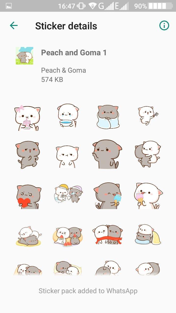 Whatsapp Peach And Goma Stickers Cat Sticker Set Chibi Cat Cute Stickers