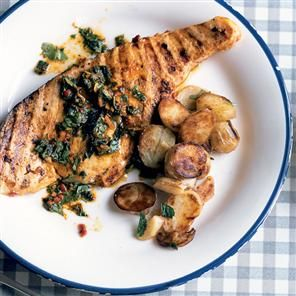 Swordfish steaks with chermoula recipe. The marinade for these swordfish steaks would also work well with other meaty fish such as salmon, monkfish, prawns or even sardines. For more delicate fish, such as sea bass, plaice or haddock, barbecue in a sealed foil parcel.