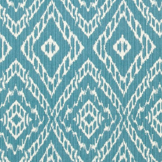 Turquoise Ikat Fabric by the Yard - Blue White Upholstery Yardage - Home Decor…